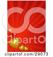 Clipart Illustration Of Golden And Red Hearts Along The Lower Left Corner Of A Bursting Red Background