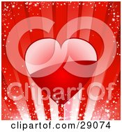 Clipart Illustration Of A Big Shiny Red Heart Reflecting Light Over A Sparkly Red Bursting Background