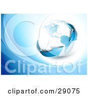 Clipart Illustration Of A Blue Arrow Circling The Globe On A White Background With Blue Waves