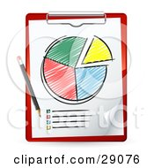 Clipart Illustration Of A Pencil Resting On A Red Clipboard With A Colored In Pie Chart And A List