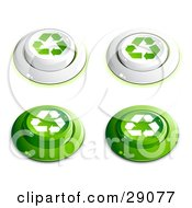 Clipart Illustration Of A Set Of White And Green Buttons With Recycle Arrows On Them Includes Depressed Buttons