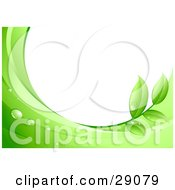 Clipart Illustration Of A White Background Framed By Dew Drops Green Leaves And Waves