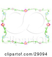 Clipart Illustration Of A Green Vine Frame Of Blue Purple Pink And Red Flowers Around A White Background