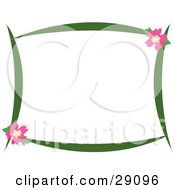 Clipart Illustration Of A Green Stationery Border With Pink Hibiscus Flowers In The Upper Right And Lower Left Corners Over White