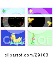 Clipart Illustration Of A Web Design Set Of Blank Labels Tags And Backgrounds Of Stars Hearts Ducks And Flowers by bpearth
