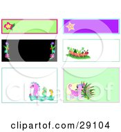 Web Design Set Of Blank Labels Tags And Backgrounds Of Flowers Stars Caterpillars Seahorses And Geckos