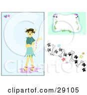 Clipart Illustration Of A Web Design Set Of Backgrounds Of A Morph Cat Girl Background With A Frame And Border Design Of Paw Prints Stars And Bones by bpearth