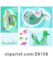 Clipart Illustration Of A Web Design Set Of Backgrounds Of Sea Turtles Whales Fish And Sea Monsters by bpearth