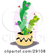 Clipart Illustration Of A Potted Cactus Flowering Purple Flowers With Tiny Red Hearts