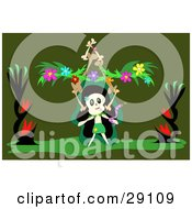Clipart Illustration Of A Skull Character Dancing With A Snake Balancing A Stack Of Bones And Flower Garland On A Green Background