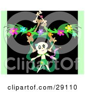 Skull Character Dancing With A Snake With A Stack Of Bones And Flower Garland On A Black And Green Background