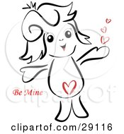 Clipart Illustration Of A Sweet Little Girl With A Heart On Her Belly Holding Her Arms Out And Smiling With Red Be Mine Valentines Day Text by bpearth