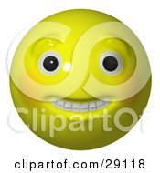 Clipart Illustration Of A Big Eyed Toothy Yellow Happy Head Smiley Face by Leo Blanchette