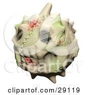 Clipart Illustration Of A Creepy Stitched Up Toothy Horned Skull Head Emoticon