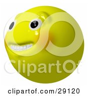 Clipart Illustration Of A Nervous Anxious Or Hopeful Yellow Smiley Head Looking Upwards And Off To The Left
