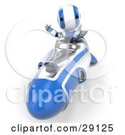 Clipart Illustration Of A Silver And Blue AO Maru Robot Waving While Driving Forward In A Hover Rocket