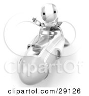 Clipart Illustration Of A Silver And White AO Maru Robot Waving While Driving Forward In A Hover Rocket by Leo Blanchette