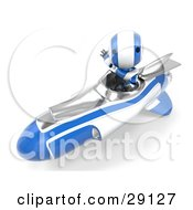 Clipart Illustration Of A Chrome And Blue AO Maru Robot Waving While Speeding Past In A Hovering Rocket by Leo Blanchette