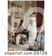 Clipart Picture Of A Vintage Victorian Scene Of A Young Man On Bended Knee Proposing To A Lovely But Pouty Young Lady In A Home Interior Circa 1830