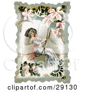 Vintage Victorian Lady Smiling While Swinging On A Swing Bordered By Scalloped Designs Circa 1880