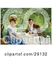 Vintage Victorian Couple Drinking Tea Outdoors On A Nice Day The Woman Looking Away From The Man Circa 1830