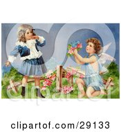 Clipart Picture Of A Vintage Valentine Of A Surprised Little Girl Leaning Back While Cupid Kneels Before Her Offering Her Flowers In A Garden Circa 1905 by OldPixels