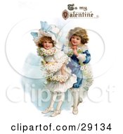 Clipart Picture Of A Vintage Valentine Of A Boy Wrapping His Girlfriend In A White Daisy Flower Garland With To My Valentine Text Circa 1890