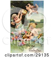 Vintage Valentine Of Three Cherubs One Flying Playing Tambourines And Mandolins With Hearts And Purple Flowers Circa 1906