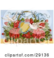 Clipart Picture Of A Vintage Valentine Of Two Doves Delivering A Basket Of Red Roses With A Blank Forget Me Not Heart And A Little Message Circa 1909 by OldPixels
