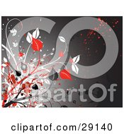 Red White And Gray Leafy Plants Along The Left Edge Of A Gray Grunge Background With Red And Black Splatters