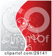 Clipart Illustration Of A Floral Background Of Gray And Red Divided By A Silhouetted White Vine With Curling Leaves