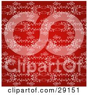 Clipart Illustration Of A Red Background With White Intricate Designs Of Hearts And Vines