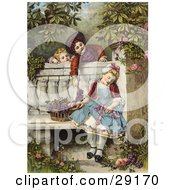 Clipart Picture Of A Vintage Victorian Scene Of Little Boys Flirting And Teasing A Little Girl Asleep On A Garden Bench With A Basket Of Fruit Circa 1850
