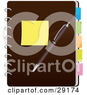 Clipart Illustration Of A Yellow Sticky Note And A Pen Resting On A Closed Brown Spiral Notebook With Colorful Divider Tabs