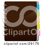 Clipart Illustration Of A Closed Brown Spiral Notebook With Colorful Divider Tabs