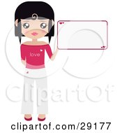 Clipart Illustration Of A Black Haired Woman Dressed In White And Pink Holding Up A Blank Sign With Hearts On It