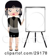 Clipart Illustration Of A Black Haired Woman Pointing To A Blank Easel Board During A Presentation