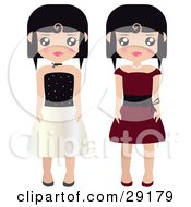 Two Black Haired Female Paper Dolls In Black And White And Red Formal Dresses And Gowns