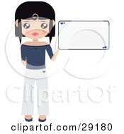 Clipart Illustration Of A Black Haired Woman Dressed In White And Blue Holding Up A Blank Sign With Small Hearts On It