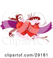 Clipart Illustration Of A Pair Of Red Heats Connected To Each Other Over A Background Of Purple Ribbons And Red Leaves
