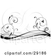 Clipart Illustration Of Black And Gray Waves And Curling Vines Over A White Background