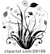 Black Tall Grasses With Bursts And Sparkles On A White Background