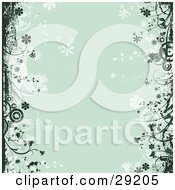 Clipart Illustration Of Dark Green Grunge And Flowers Over A Green Background With Faded Circles And Flowers