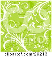 Clipart Illustration Of A Background Of White And Faded Grasses Over Green