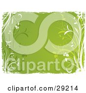 Clipart Illustration Of A Green Background Bordered By Green And White Grasses And White Grunge