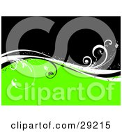 Clipart Illustration Of White And Black Sparkly Wavy Vines Dividing A Black And Bright Green Background