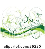 Clipart Illustration Of Light And Dark Green Curly Vines Over A White Background With Waves Along The Bottom