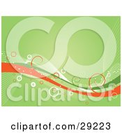 Clipart Illustration Of Green White And Orange Waves With Curls And Circles Over A Green Background