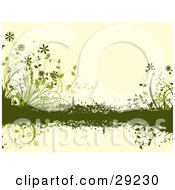 Clipart Illustration Of Green Grasses And Flowers Growing On A Grunge Bar Across A Pale Yellow Background