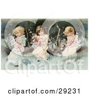 Clipart Illustration Of Vintage Victorian Scene Of Three Little Girls Sitting On A Fallen Tree And Making A Garland Of The Pink Spring Blossoms Circa 1890